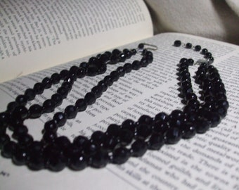 Vintage Victorian Style Triple Strand French Jet Glass Beaded Mourning, Momenti Mori Choker  Black Necklace