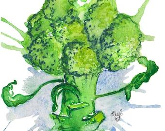 Broccoli postcard/Green broccoli/ vegetables postcard