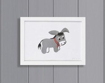 Donkey Risograph Print