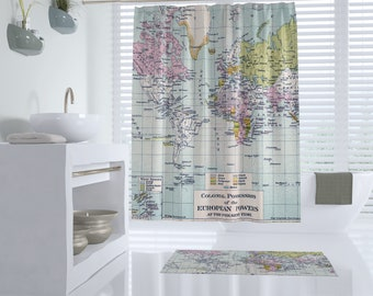 World Map Shower Curtain - Colonial Map - Home Decor - Bathroom -  travel decor