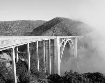 Bixby Bridge, California Photography, Big Sur, Black and White Print, Fog, California Coast, Pacific Ocean, Landscape, Home Decor, Wall Art