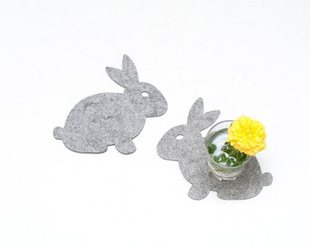 Felt Coasters / Rabbits / Set of 4 Coasters / Set of 6 Coasters / Cute Gift / Black  Coasters / Gray Coasters