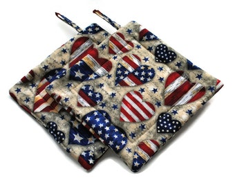 Handmade Quilted Pot Holders Set of 2  Americana  Flag Hearts Vintage Look Beige Gray Red Blue