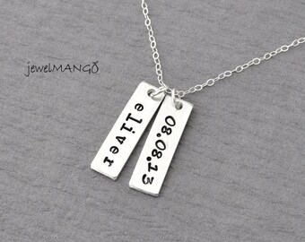 Personalized tag necklace, keepsake necklace, special day, anniversary, wedding date, engagement, Children's Name, Name Tag Necklace