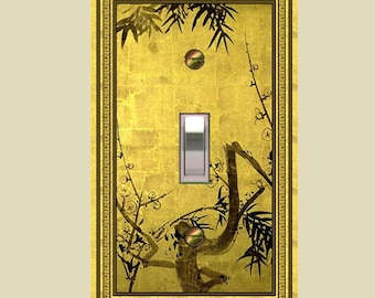 0561X  Asian golden bamboo - mrs butler switch plate covers -