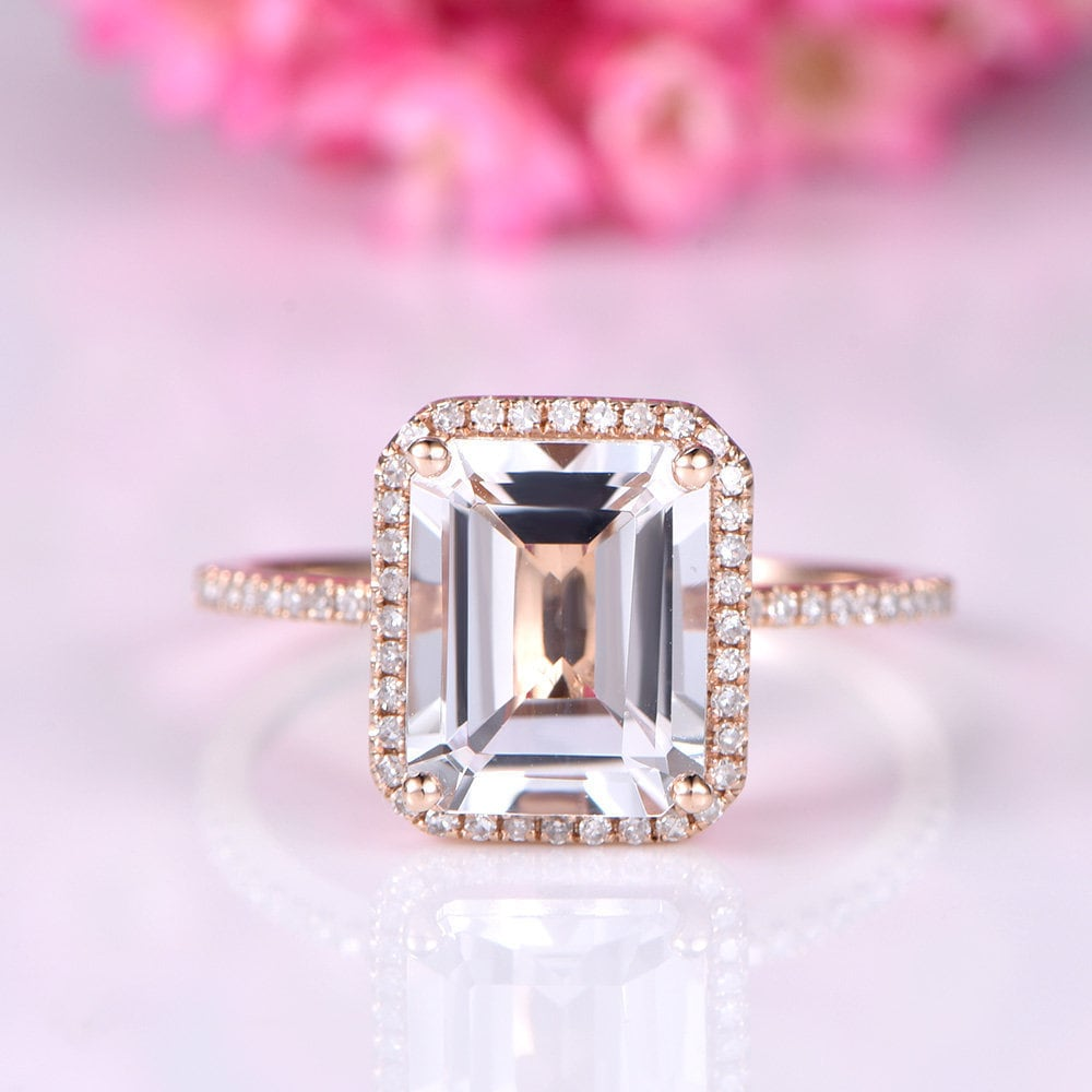 White topaz engagement ring 14k rose gold 8x10mm emerald cut