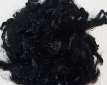 Karakul Sheep Wool Locks for Spinning Felting and Doll Hair, Doll Wig, in Natural Shades of Black with faint traces of gray 1 oz.