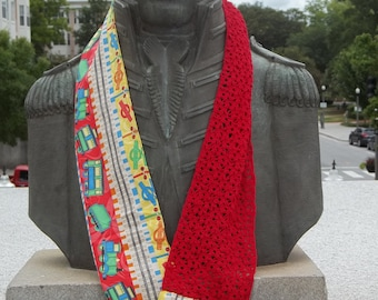 Red Lace Train Infinity Scarf