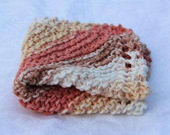 Handmade Cotton Dish Cloth  - Traditional Knit Wash Cloths - Bath Shower - Natural Stripe - Brown Salmon Orange Cream White