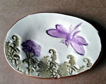 Ceramic Ring Dish Ring Bowl Ring holder Dragonfly edged in gold