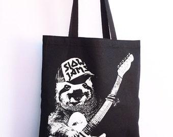 SLOTH Slow Jams - Eco-Friendly Market Tote Bag - Hand Screen printed (Ships FREE!)