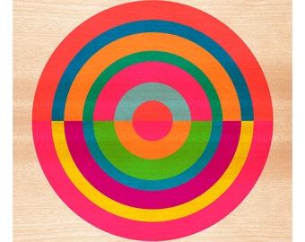 Target on Wood No. 1 - Original Art Print, Geometric, Abstract, Target, Circles, 12x12