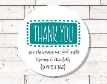 Shower Thank You Sticker - bridal shower sticker,  baby shower label, sheet of 20, custom- 2 inch circle, white photo gloss label