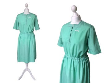 Green Vintage Dress | Vintage Uniform | Tricoline Fabric By Wemco | 1930s 1940s