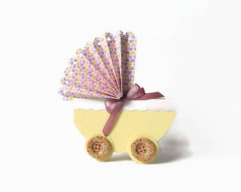 Baby Handmade Carriage Card, Newborn Card, Welcome Baby Card, Baby Greeting Card, Christening Card, Baby Shower Invitation, Fancy Baby Card