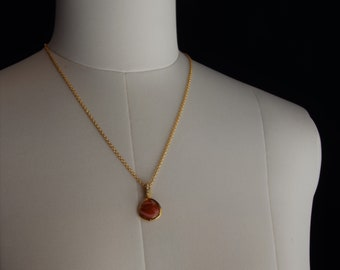 sunset orange pendant necklace