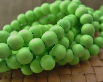 12 or 8 or 6 mm Round Wood Beads, Lime Green Color, 15 inch Strand