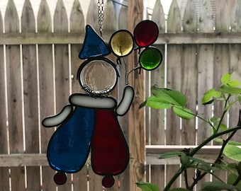 Vintage Glass Clown with Balloons Suncatcher