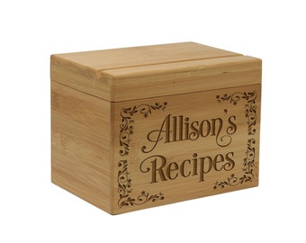Recipe Box, wood recipe box, wedding gift, engraved recipe box, personalized custom recipe box, recipe holder  --28511-RB01-001