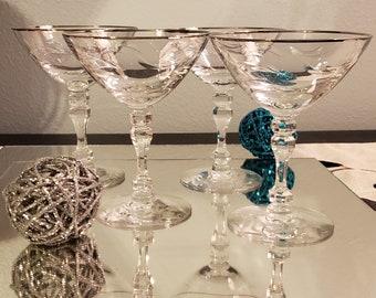 Set of 4 Tiffin Franciscan Lyndley Champagne Sherbet Glass Platinum Rim