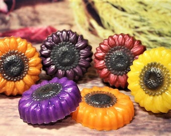 Sunflower Soap, Fall Flower Soap, Autumn Flower Soap, Fall Bath Decor, Fall Wedding Soap Favors, Autumn Favors, Fall Festival Favors