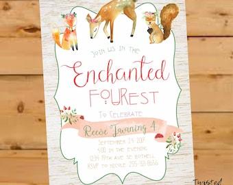 Woodland Invitation, Woodland Birthday Invitation, Enchanted Forest Invite, Deer Birthday Invite, Fairy Woodland, Forest Birthday Invite