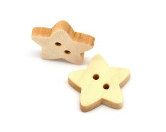 10 Boutons Étoiles en bois naturel 18x17mm