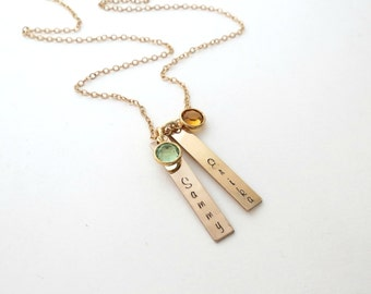 Personalized Gold Bar Necklace with Birthstone - Custom Name Necklace - Personalized Jewelry - Mothers - Kids Name - Grandma - Family