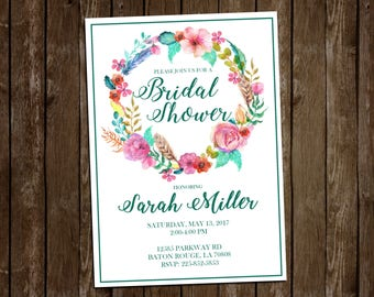 Watercolor Floral Bridal Shower Invite