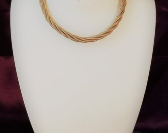 Vintage Two Strand Twist Necklace Gold Metal | Coro