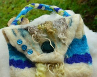 THE BLUE clutch bag. charging phone; wool felted; handmade accessory. birthday gift; storage bag Pocket e; woman