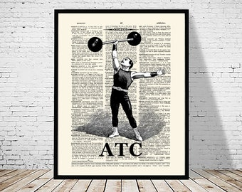 "Certified Athletic Trainer (ATC) Vintage- Caduceus, 11"" x 14"" print,Athletic Trainer certification gift, Certified Athletic Trainer print"