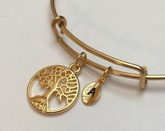 Tree of life bangle, tree of life charm bracelet, expandable bangle, charm bangle, personalized bracelet, initial bracelet, monogram