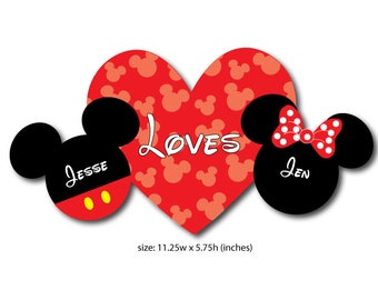 Mickey Loves Minnie Mouse Head Magnet for Valentines Day Disney Cruise Ship Door Decoration