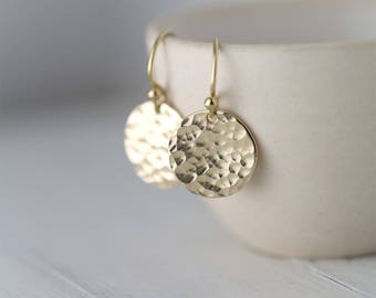 Hammered Gold Earrings Handmade, Mothers Day Gifts for Mom, Gold Filled Handmade Jewelry, Gift for Women, Jewellery by Burnish
