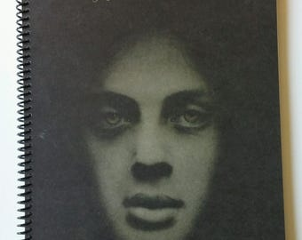 """Billy Joel Spiral Notebook Hand Made from Recycled Vinyl Record Album Cover """"Piano Man"""""""