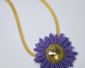 DAISY BEADED PENDANT Necklace (Purple/Gold)