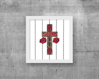 Spiritual Art, Gallery Wall Decor, Catholic Art, Original Painting, Gifts for Her, Religious Icons, Flower Wall Art, Religious Art, Cross