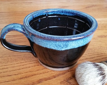 Large Wet Shaving Lather Bowl Mug in Black Speckled Blue MADE TO ORDER