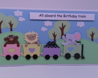 Handmade 3D Aboard the Train Birthday Card for child