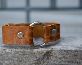 Distressed Leather & Sterling Ring .   South Western Design. Bracelet.