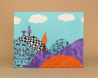 Nursery Wall Art, Whimsy Landscape Collage, Orange and Purple,  Nursery Art, Wall Art, Original, Handmade, Whimsical