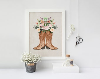 PRINTABLE pépinière tribal Art Western bottes Western Art Print cow-girl bottes cow-girl bottes Floral cow-girl bottes Art Print Western décor Floral