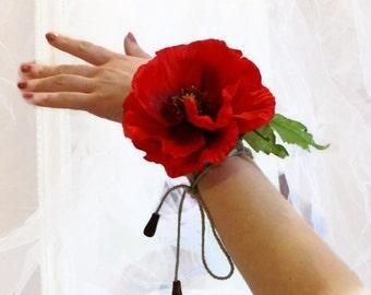 Flower Wrist Corsage Red Poppy Red Accessories Bridesmaids Bracelets Floral Corsage Wedding Girl-Party  Hippie Accessories Summer Trends