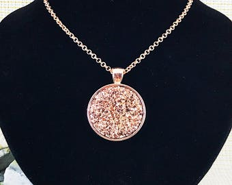 Rose Gold Prom Necklace - Rose Gold Jewelry - Rose Gold Necklace - Druzy Jewelry - Druzy Necklace - Rose Gold Druzy Necklace - Prom Jewelry
