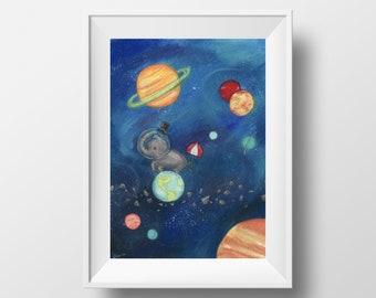 Digital download - elephant in space 8x10 watercolor print wall art baby nursery