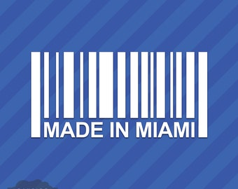 Made In Miami Barcode Vinyl Decal Sticker Florida