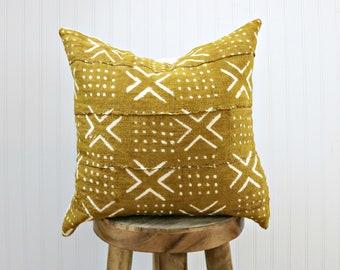 Mustard Mudcloth Pillow Cover with White Print // Yellow Saffron African Textile Woven Minimalist Geometric White X Print Throw Cushion