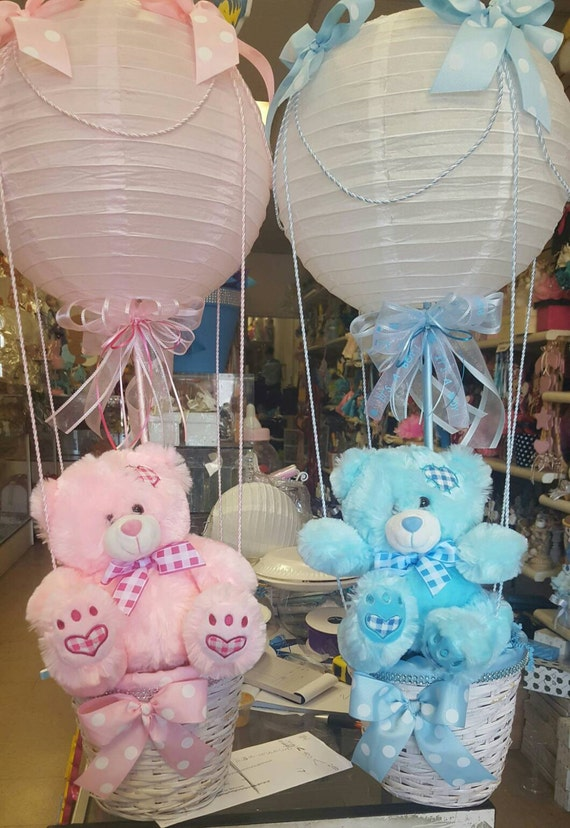 Hot air balloon baby bear centerpieces with lantern