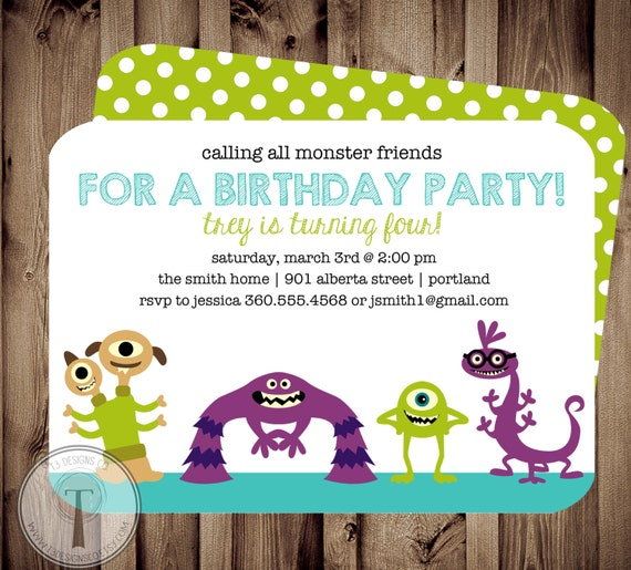 Monster friends birthday invitation birthday inviteboy and filmwisefo